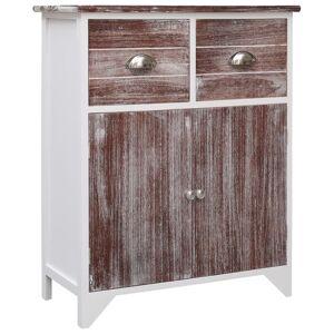 vidaXL Dulap lateral, maro și alb, 60 x 30 x 75 cm, lemn de paulownia