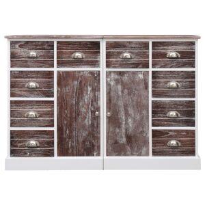 vidaXL Servantă cu 10 sertare, maro, 113 x 30 x 79 cm, lemn
