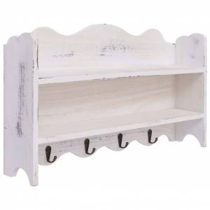 vidaXL Cuier de perete, alb, 50 x 10 x 30 cm, lemn