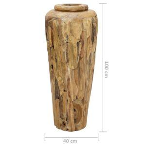 vidaXL Vază decorativă, 40 x 100 cm, lemn masiv de tec