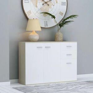 vidaXL Servantă, alb și stejar Sonoma, 105 x 30 x 75 cm, PAL