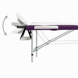 vidaXL Masă pliabilă de masaj, 2 zone, alb și violet, aluminiu