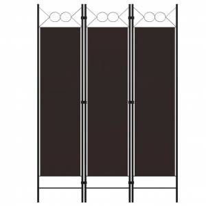 vidaXL Paravan de cameră cu 3 panouri, maro, 120 x 180 cm