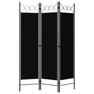 vidaXL Paravan de cameră cu 3 panouri, negru, 120 x 180 cm