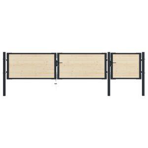 vidaXL Poartă de gard, 413 x 125 cm, oțel și lemn de molid
