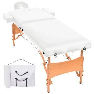 vidaXL Masă de masaj pliabilă cu 2 zone, 10 cm grosime, Alb