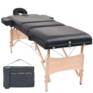 vidaXL Masă de masaj pliabilă cu 3 zone, 10 cm grosime, Negru