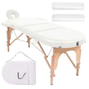 vidaXL Masă masaj pliabilă cu 2 perne, 10 cm grosime, oval, Alb
