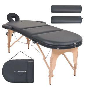 vidaXL Masă masaj pliabilă, 10 cm grosime, cu 2 perne, oval, Negru