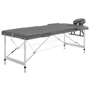 vidaXL Masă de masaj cu 3 zone, cadru aluminiu, antracit, 186 x 68 cm