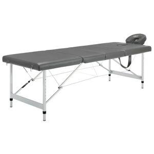 vidaXL Masă de masaj cu 4 zone, cadru aluminiu, antracit, 186 x 68 cm