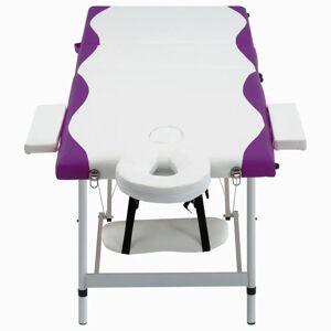 vidaXL Masă de masaj pliabilă, 3 zone, alb și violet, aluminiu