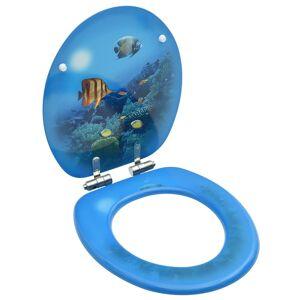 vidaXL Capac WC cu închidere silențioasă, MDF, model subacvatic