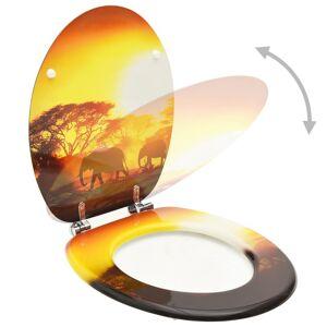 vidaXL Colac WC cu capac, MDF, design savană