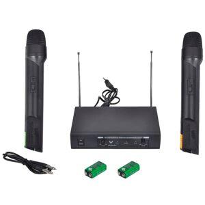 vidaXL Set VHF receiver cu 2 microfoane fără fir