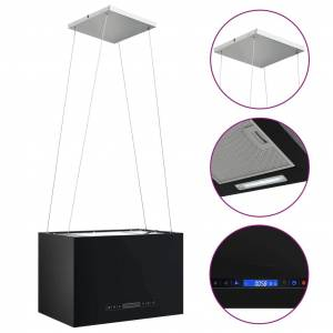 vidaXL Hotă suspendată insulă LCD senzor tactil 55 cm oțel