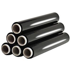 vidaXL Role de folie pentru paleți, 6 buc., negru, 17 µm, 840 m