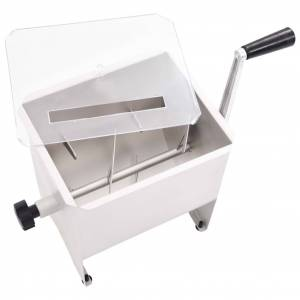 vidaXL Malaxor de carne manual cu capac argintiu 20 L oțel inoxidabil