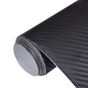 vidaXL Autocolant folie din fibră de carbon 3D Negru 152 x 200 cm