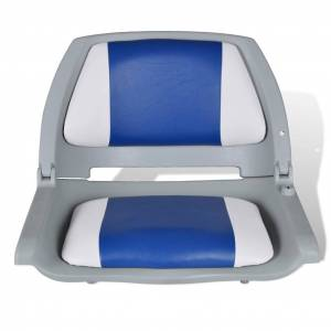 vidaXL Scaune barcă pliabile, 2 buc, pernă albastru-alb, 41x51x48 cm