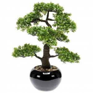 Emerald Ficus artificial mini bonsai, verde, 47 cm 420006