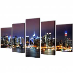 vidaXL Set tablouri pânză imprimate color, panoramă New York 100 x 50 cm