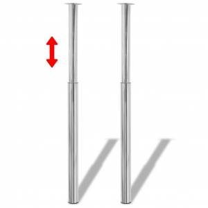 vidaXL 2 Picioare de masă telescopice din crom, 710 mm - 1100 mm