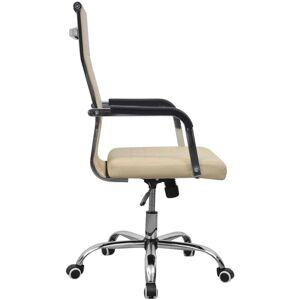 vidaXL Scaun pentru birou din piele artificială 55x63 cm, Crem
