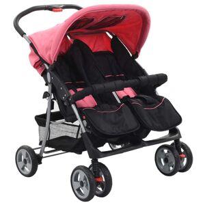 vidaXL Cărucior dublu pentru copii, roz și negru, oțel