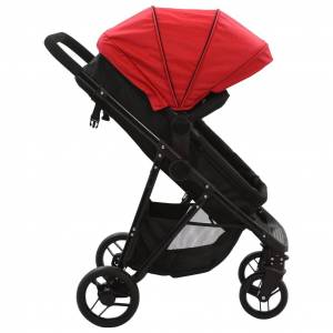 vidaXL Căruț/landou pentru copii 2-în-1, roșu și negru, oțel