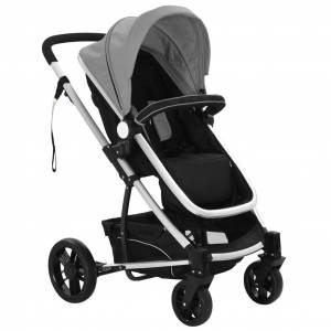 vidaXL Cărucior/landou pentru copii 2-în-1, gri și negru, aluminiu