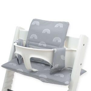 Jollein Pernă pentru scaun înalt de copii, gri, model curcubeu