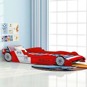 vidaXL Pat pentru copii mașină de curse, roșu, 90 x 200 cm