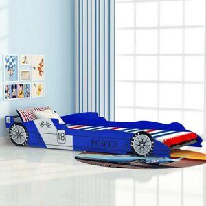vidaXL Pat pentru copii mașină de curse 90 x 200 cm, albastru