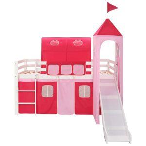 vidaXL Cadru pat etajat copii cu tobogan & scară 97x208 cm lemn de pin