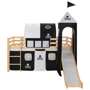 vidaXL Cadru pat etajat copii cu tobogan & scară 97x208cm lemn de pin