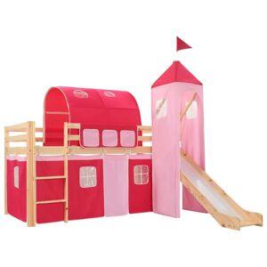 vidaXL Cadru pat etajat copii cu tobogan & scară 208x230 cm lemn pin