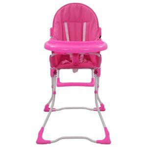 vidaXL Scaun de masă înalt pentru copii, roz și alb