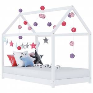 vidaXL Cadru pat de copii, alb, 80x160 cm, lemn masiv de pin