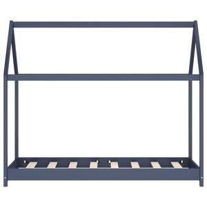 vidaXL Cadru pat de copii, gri, 70 x 140 cm, lemn masiv de pin