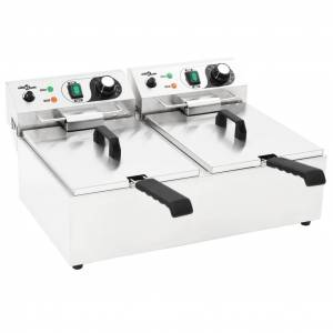 vidaXL Friteuză electrică dublă, oțel inoxidabil, 20 L, 6000 W