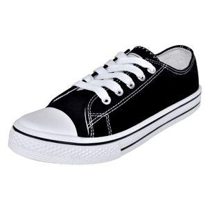 vidaXL Pantofi sport clasici femei, cu șiret, pânză, negru, mărimea 36