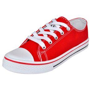 vidaXL Pantofi sport clasici femei, cu șiret, pânză, roșu, mărimea 37