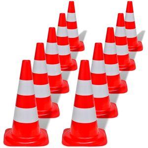 vidaXL Set 10 conuri reflectorizante semnalizare rutieră, 50 cm, roșu și alb