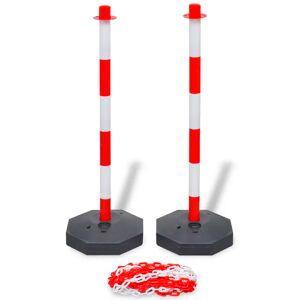 vidaXL Set stâlpi semnalizare trafic cu lanț din plastic de 10 m