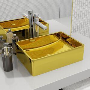 vidaXL Chiuvetă de baie, auriu, 41 x 30 x 12 cm, ceramică