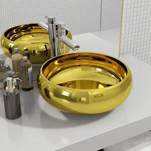 vidaXL Chiuvetă, auriu, 40 x 15 cm, ceramică