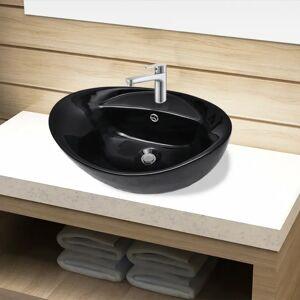 vidaXL Bazin chiuvetă ceramică baie cu gaură robinet/preaplin, oval, negru