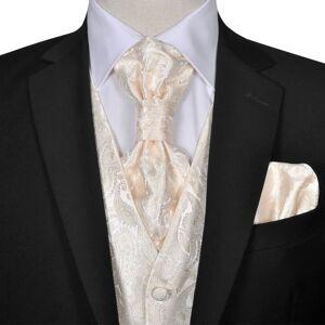 vidaXL Set vestă de nuntă pentru bărbați cu imprimeu Paisley, mărime 54, crem