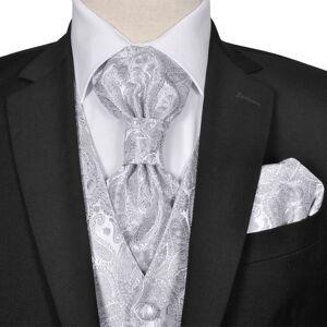 vidaXL Set vestă nuntă pentru bărbați, imprimeu Paisley, mărime 50, argintiu